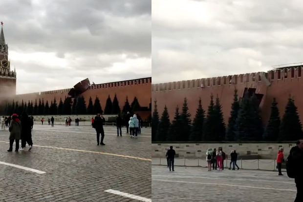 Qasırğa Kremlin divarını uçurdu - ANBAAN VİDEO
